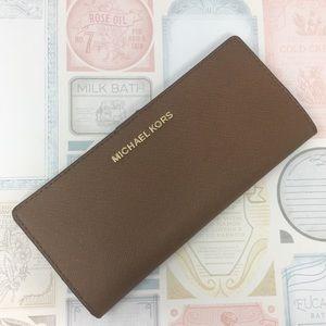 Michael Kors Flat Slim Bifold cognac wallet